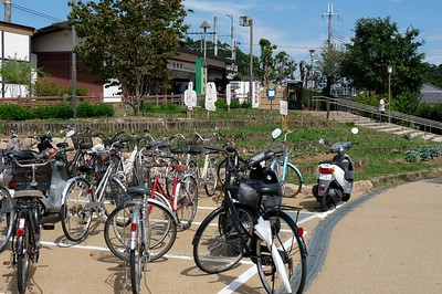 Bike parking at Asuka Station.