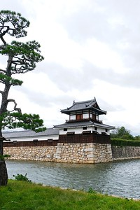 "Looking back across the ""moat"" to the restored Taikoyagura Turret,"
