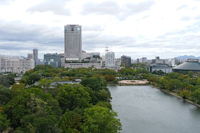 View from Tower to Rihga Royal Hotel, Peace Memorial Park and Hiroshima Prefectural Sports Arena.