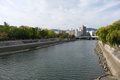 View, In distance, reconstructed Aioi-bashi Bridge.
