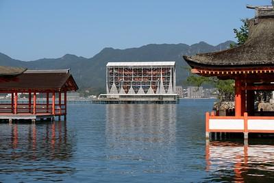 "View the ""floating"" Itsukushima Torii Gate."