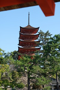 View the 5-story Pagoda from the Itsukushima Shrine.