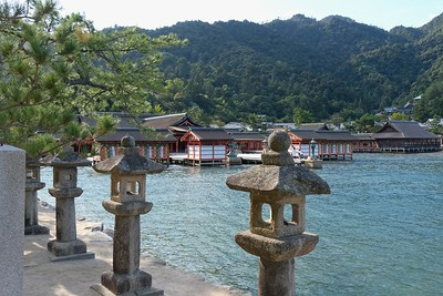 Many stone lanterns line the walk to the Shrine.
