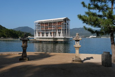 The Itsukushima Floating Torii Gate under wraps for rehab.