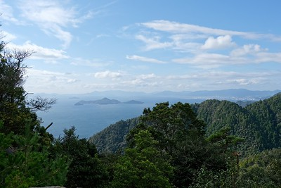 View over Seto Inland Sea from the funicular.