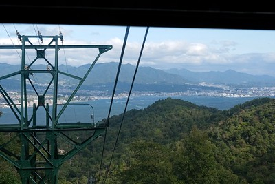 Catching  the circular ropeway at Momijidani Station.
