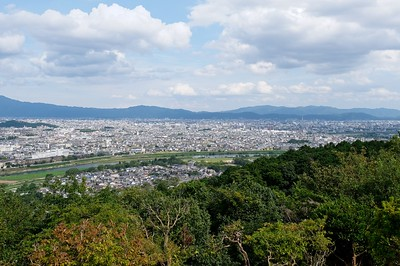 From the top you can see the city of Kyoto and the Kyoto mountains beyond.
