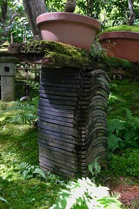 Roof tiles used as supports.