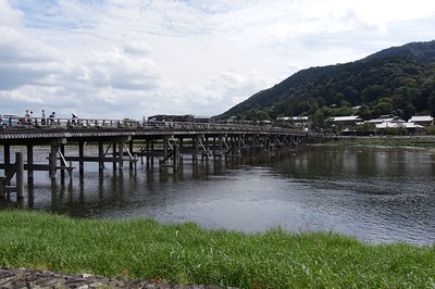 "The Togetsu-kyō Bridge (""Moon Crossing Bridge"" ) over the Katsura River (Oi River)."