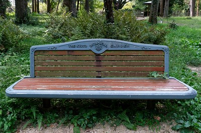 One of many benches placed along the paths.