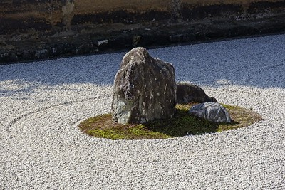 Viewing the rock garden at the Ryoan-ji Temple.