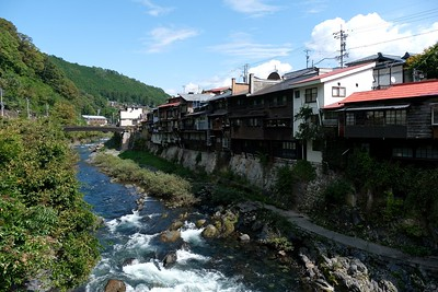 Gakeyazukuri no Ienami - houses built out of the stone along the Kiso River.