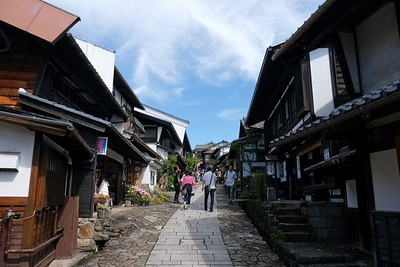 Starting up the hill in the Post Town of Magome.