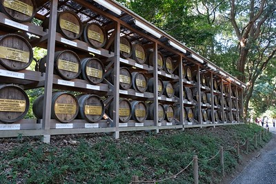 Wine donations from France for consecration at the Meiji Jingu Shrine.