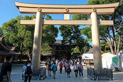 Torii gate at entrance to the Shrine.