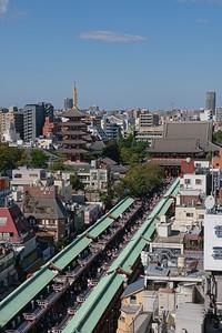 View over Nakamise Dori and the Senso-ji Temple.