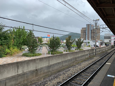 Bicycle parking beyond the tracks.