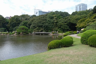 View over Upper Pond to the Shinjuku skyline.