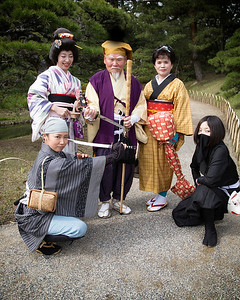 In costume at Ritsurin Gardens, Takamatsu, Japan