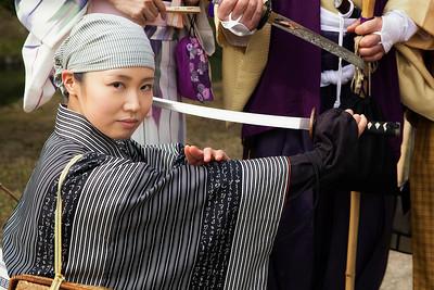 In costume at Ritsurin Gardens, Takamatsu, Japan