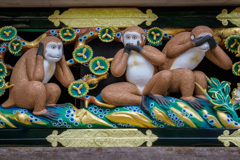 "The original and infamous ""Hear no evil, speak no evil, see no evil"" monkeys"