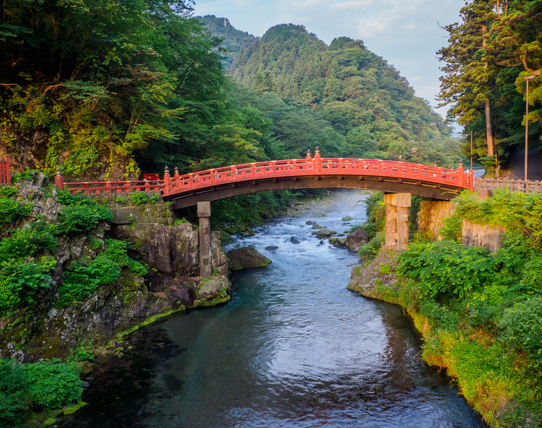 """Vermilion laquered Shinkyo, """"The Sacred Bridge,"""" located in Nikko, was built in 1636   and crosses the Daiya River."""