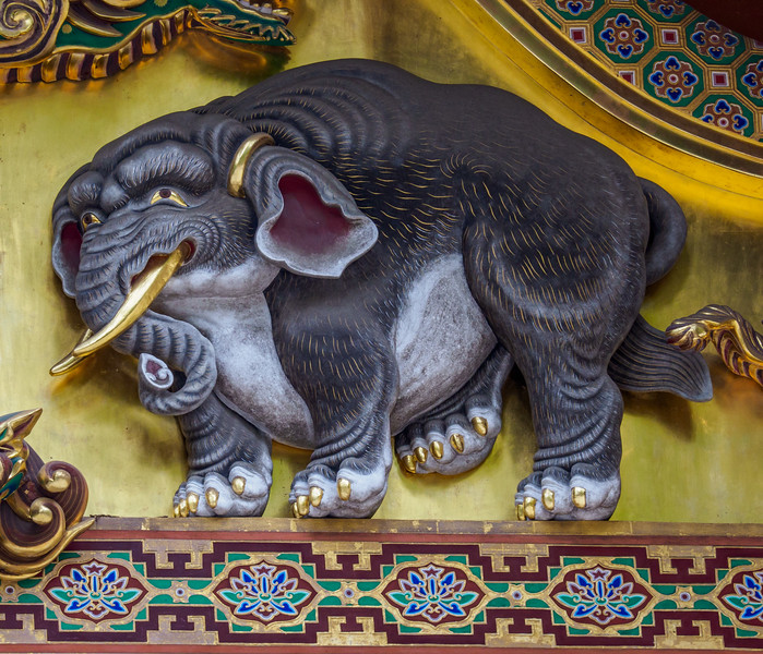 Elephant carving on one of the 3 sacred storehouses
