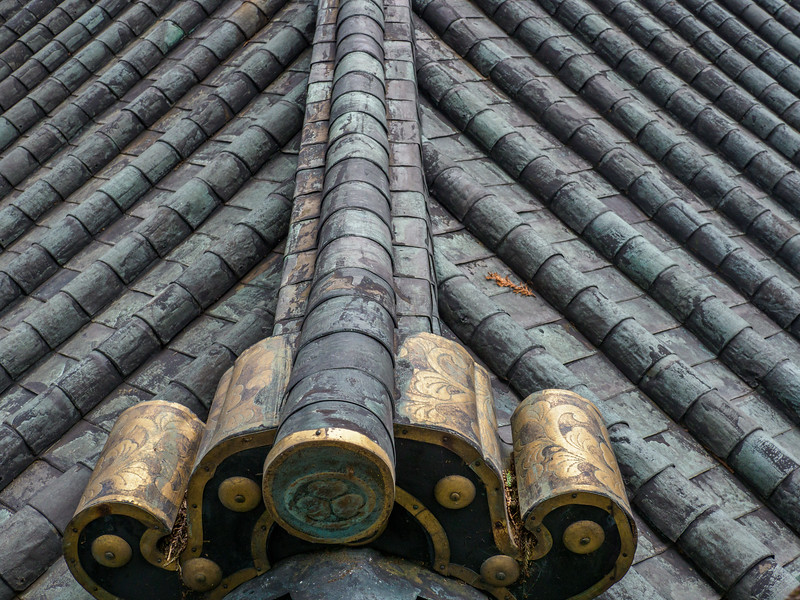 Roof tiles and ornaments of Gohonsha, , the most important area of the Toshogu Shrine