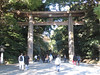 Torii at entrance to Meiji shrine compound.
