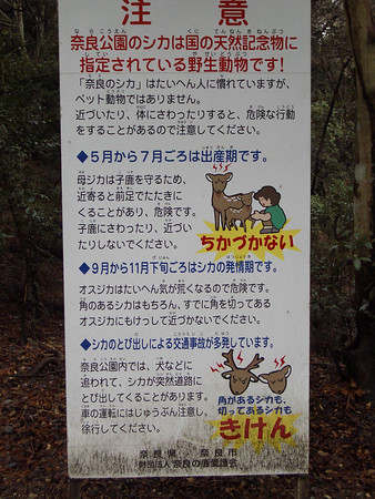 Sign warning people not to mess with deer babies!