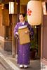 A restaurant hostess in the old quarter of Kanazawa