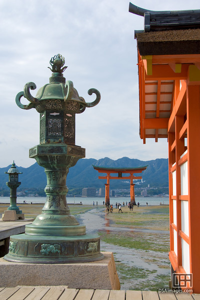 The vermilion torii gate from the Itsukushima Shrine