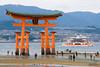 The vermilion coloured torii gate of Itsukushima Shrine
