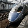 Hikari shinkansen express arrives at Himeji Station.