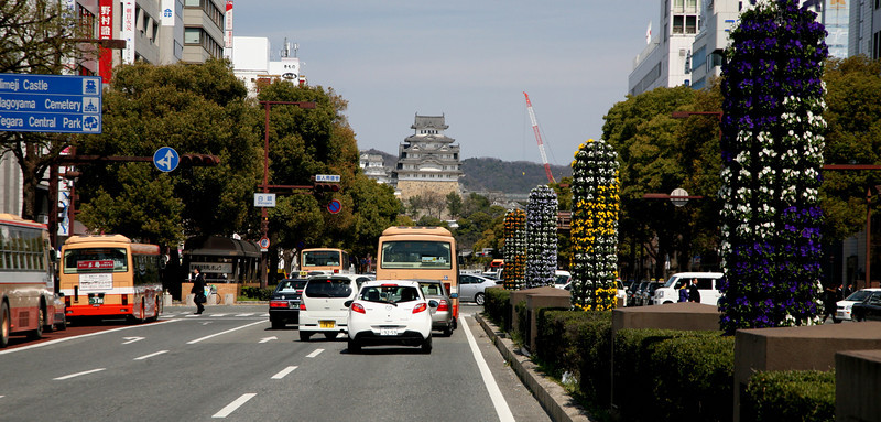 Walking up Otemae-Duri from Himeji Station.