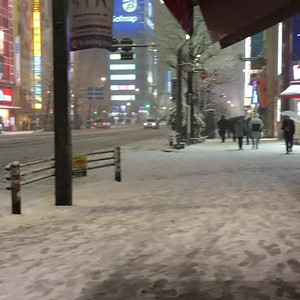 Snow in Akihabara main street
