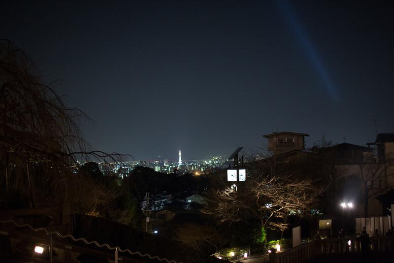 Kiyomizu temple, lit up at night for Hanatoru