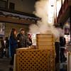 Higashiyama streets lit up at night for Hanatoru. We had some steamed buns here.