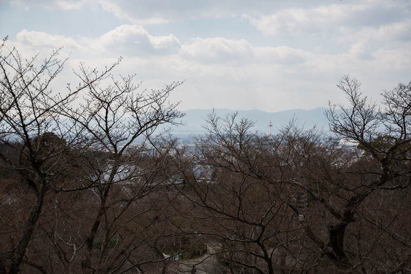 View of Kyoto Tower from Kiyomizu Temple.