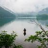 Fly fisherman on Lake Yumoko