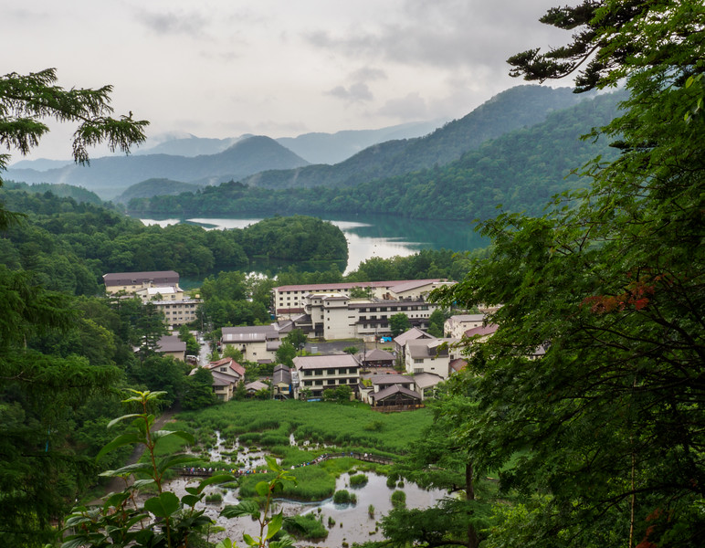 Hilltop view of village and Lake Yumoko