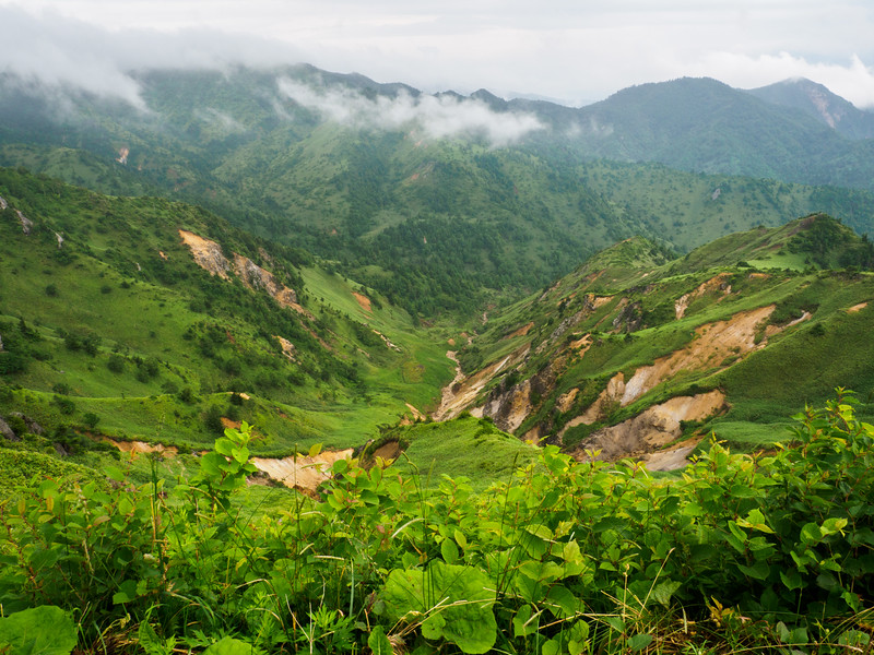 Lush hills and valleys nourished throughout rainy season on Mt. Shirane Jigokudani