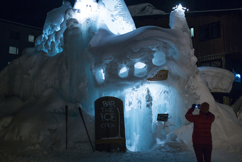 Ice bar, The structure is a couple of hoops of steel they spray water over, the layers of snow on top insulate it.