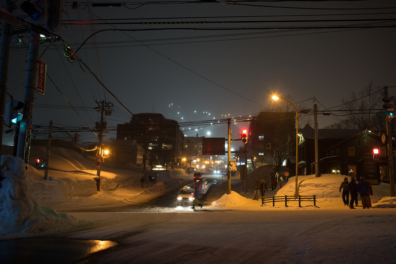 The main intersection in Hirafu, the street is heated to keep the ice off