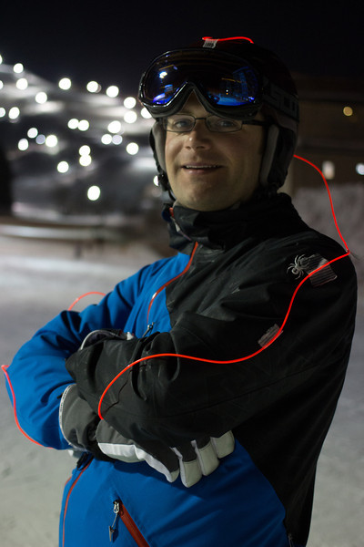 All lit up with EL wire for night skiing
