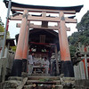 We talked with one of the priests and he explained all about the fox and its role in Shinto, and then gave us a package containing a written blessing and some traditional Japanese food. (Pic later.) This shrine, Fushimi Inari, is older then Kyoto itself, dating back to the 700s AD.