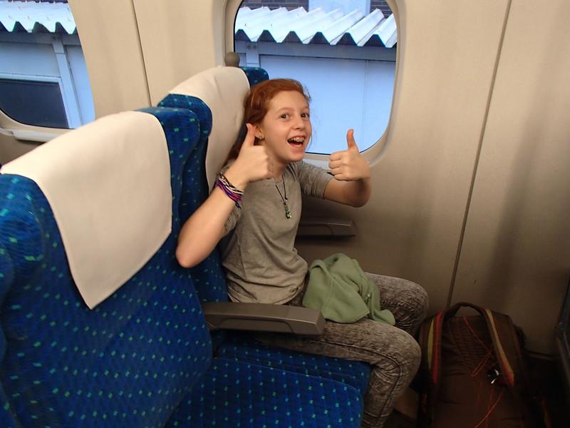 Shinkansen, the thumbs-up way to go.