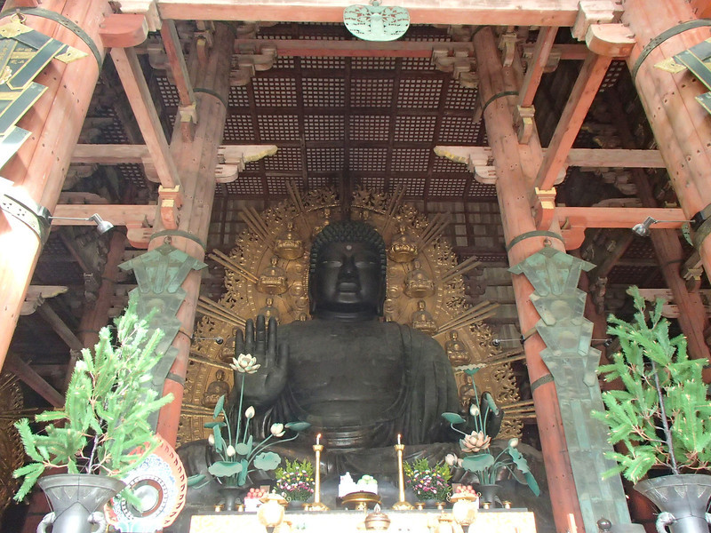 Looking inside at the Great Buddha, also one of the largest in the world.