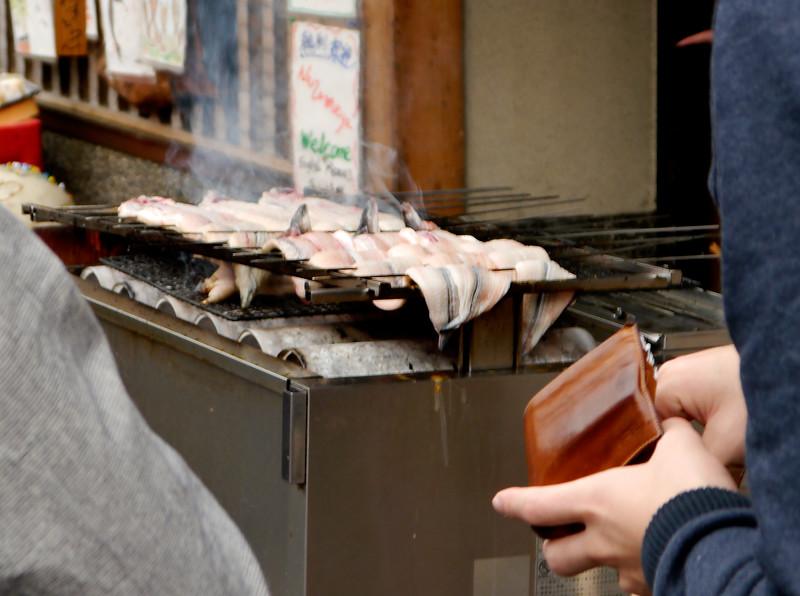 Japan OAT Trip, Nov 2014.   Fushimi.  Shops and food vendors on our way back to the bus from Fushimi Inari Shrine.
