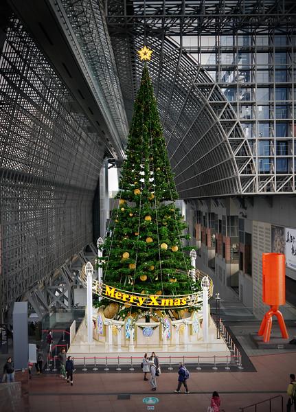 Japan OAT Trip, Nov 2014.  Kyoto.  The Christmas Tree in Kyoto Train Station.